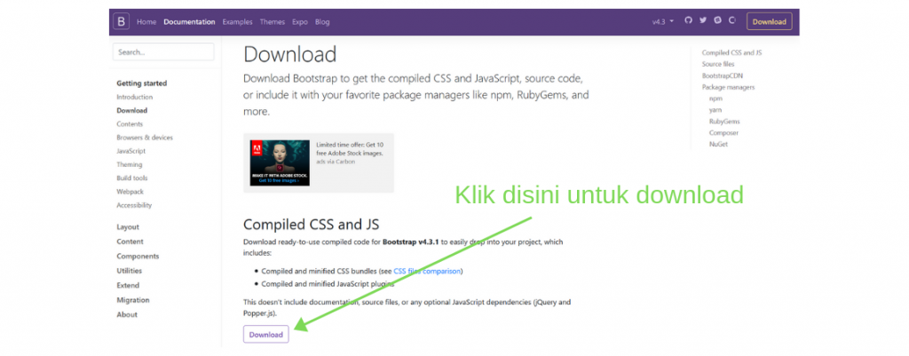 detail download bootstrap