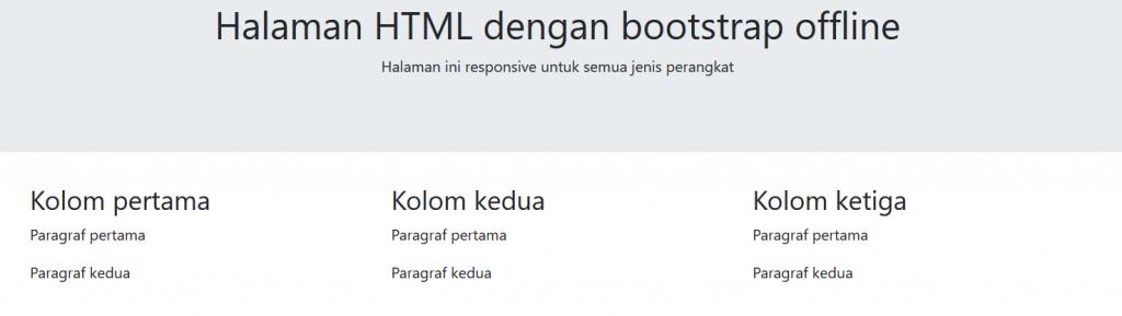 halaman html dengan bootstrap offline