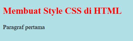 contoh hasil output membuat style css di html