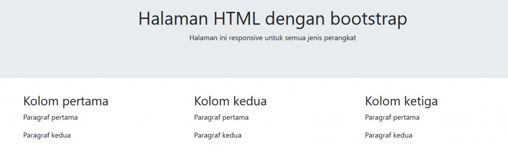 halaan html dengan bootstrap CDN (content delivery network)