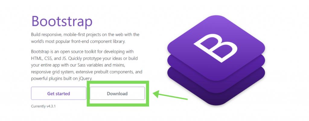 halaman awal untuk download bootstrap
