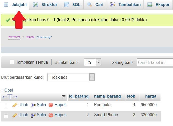 melihat data ditabel barang phpmyadmin
