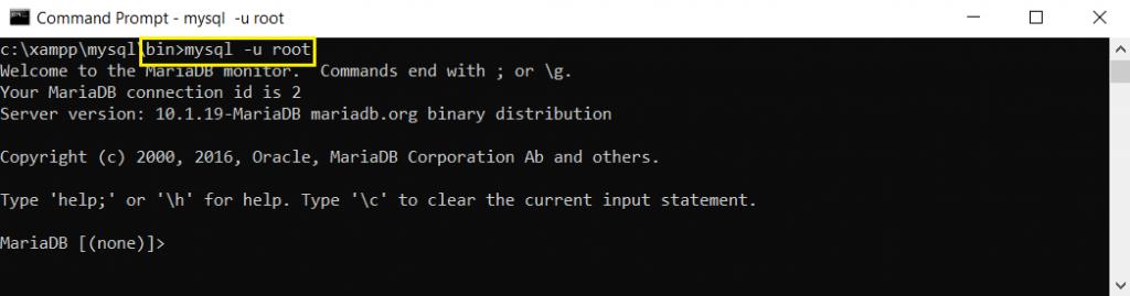 masuk ke mysql dengan user root