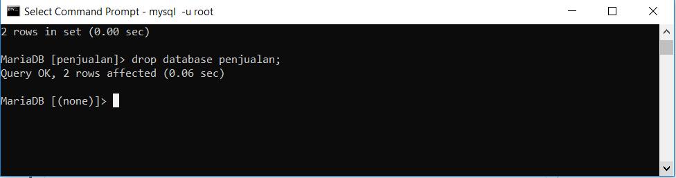 menghapus database penjualan di mysql