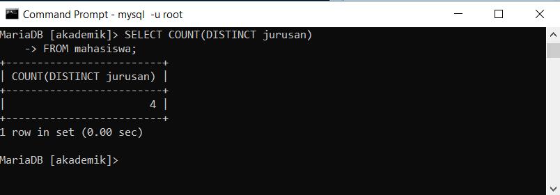 select distinct dengan fungsi count