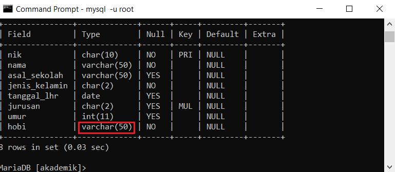 merubah struktur tabel dengan modify