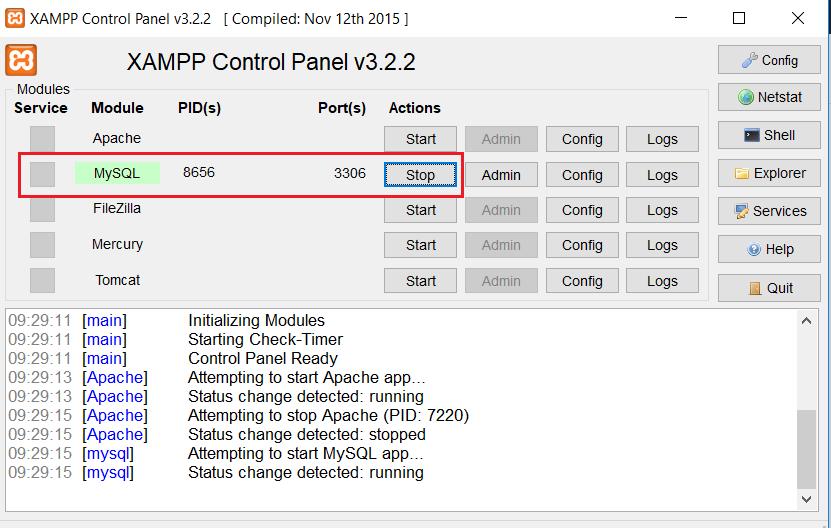mengaktifkan module mysql di xampp