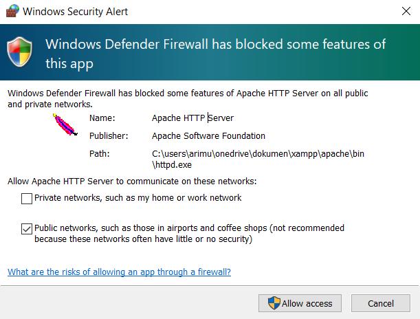 pemberitahuan keamanan windows