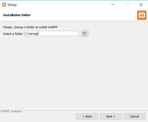 pemilihan folder instalasi xampp