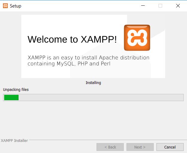progress instalasi xampp di windows