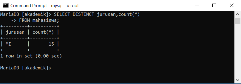 klausa select distinct tidak dapat menggunakan fungsi agregat