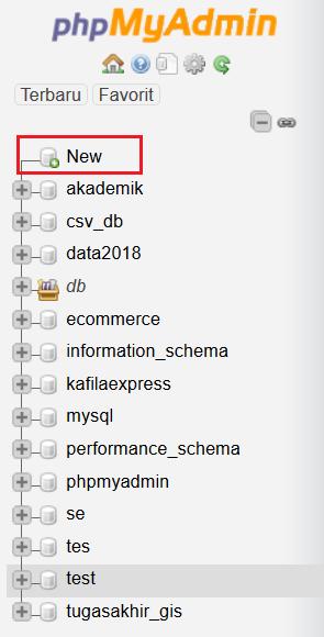 menu silebar di phpmyadmin