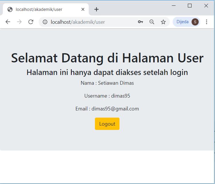 halaman user setelah login