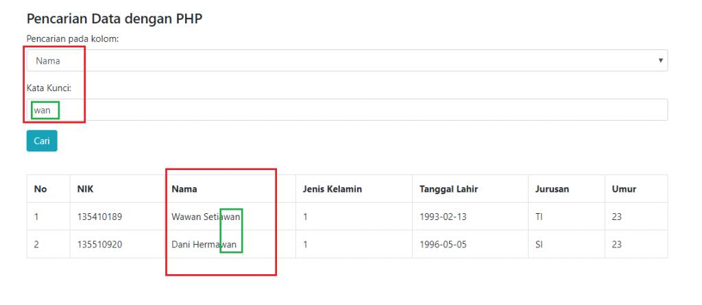 hasil pencarian data dengan php dan combo box