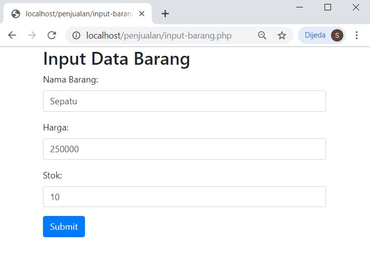 form input data barang
