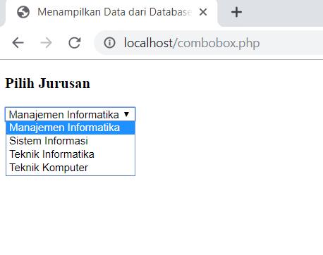 menampilkan data dari database ke combobox dengan PHP