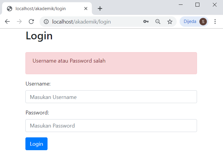 validasi username dan password