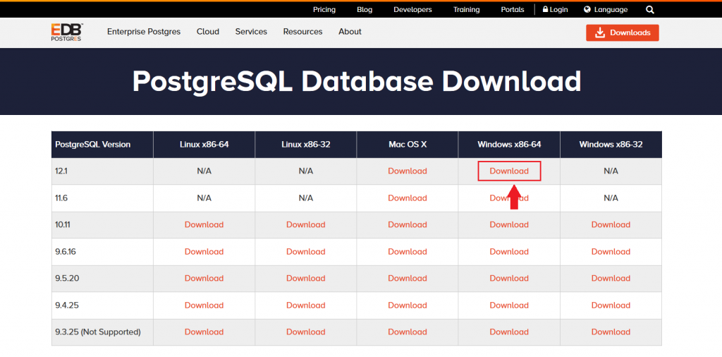 download postgresql untuk windows