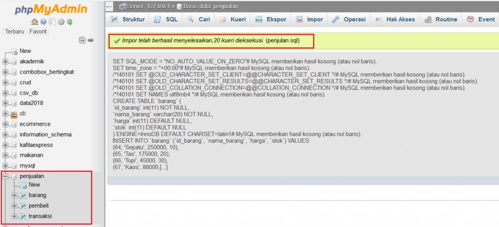 berhasil import database phpmyadmin