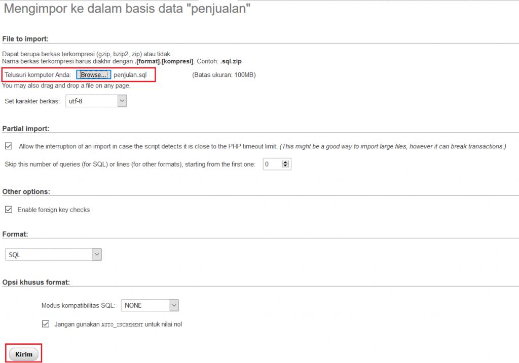 import dari file sql kedalam database penjualan