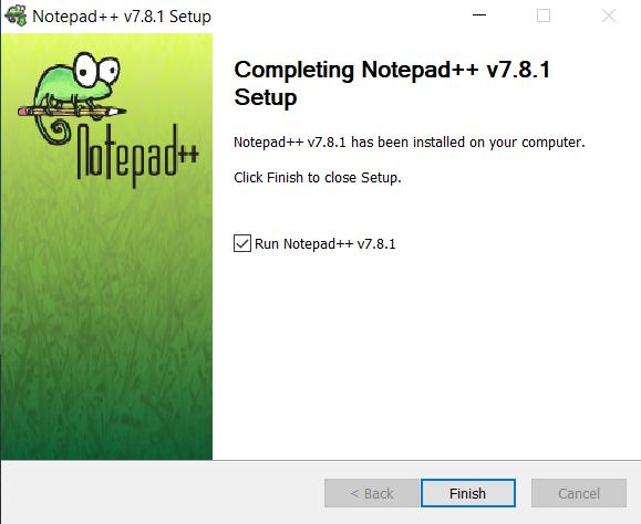 menyelesaikan instalasi notepad++