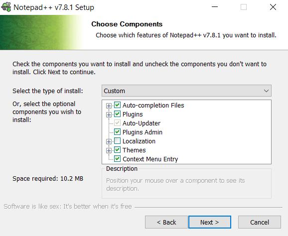 pemilihan komponen yang di instal