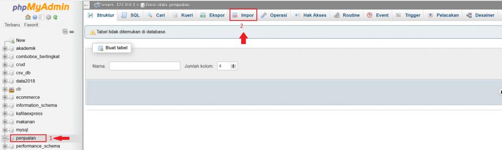menu import di phpmyadmin
