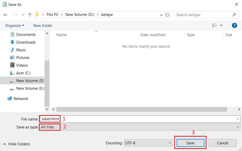 simpan file extensi html