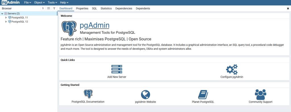 pgadmin interfaces
