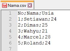 file csv di buka di notepad