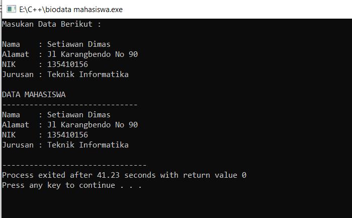 program c++ biodata mahasiswa