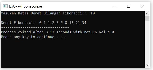 bilangan deret fibonacci C++