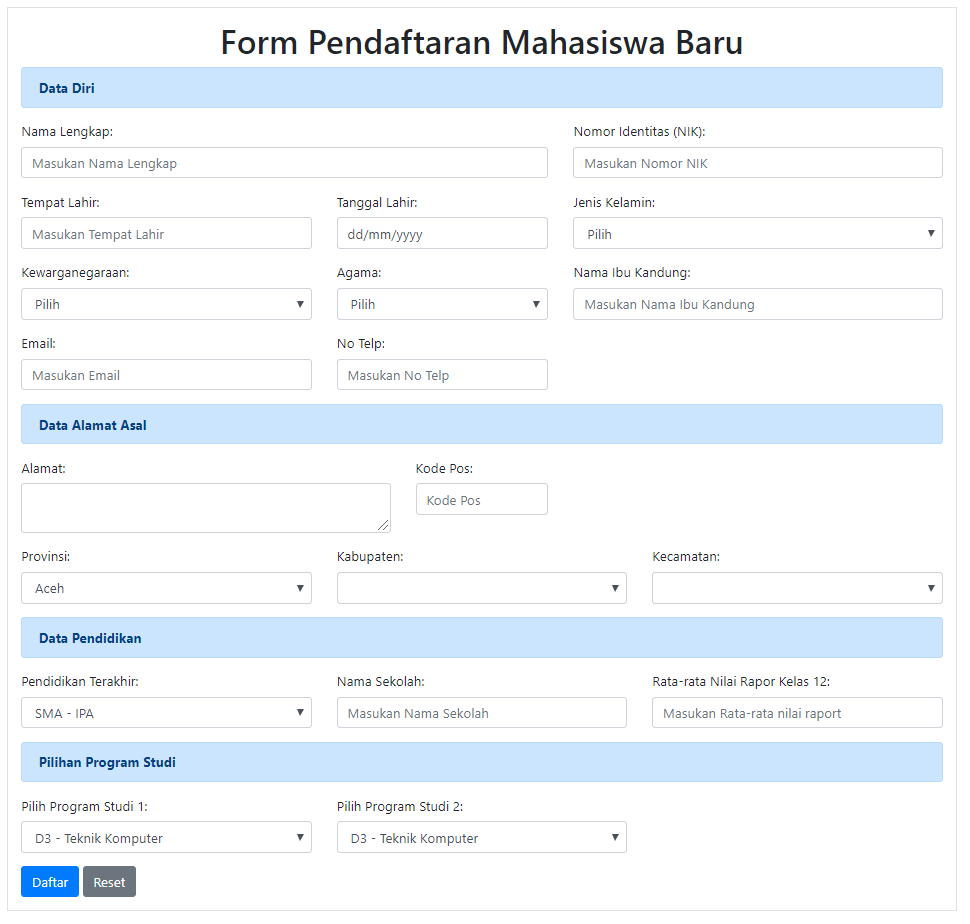 form pendaftaraan (registrasi) mahasiswa baru