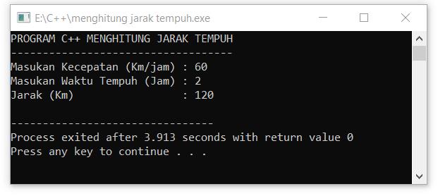 program c++ menghitung jarak tempuh