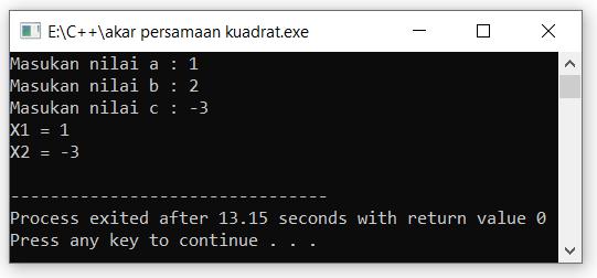 program c++ mencari akar persamaan kuadrat