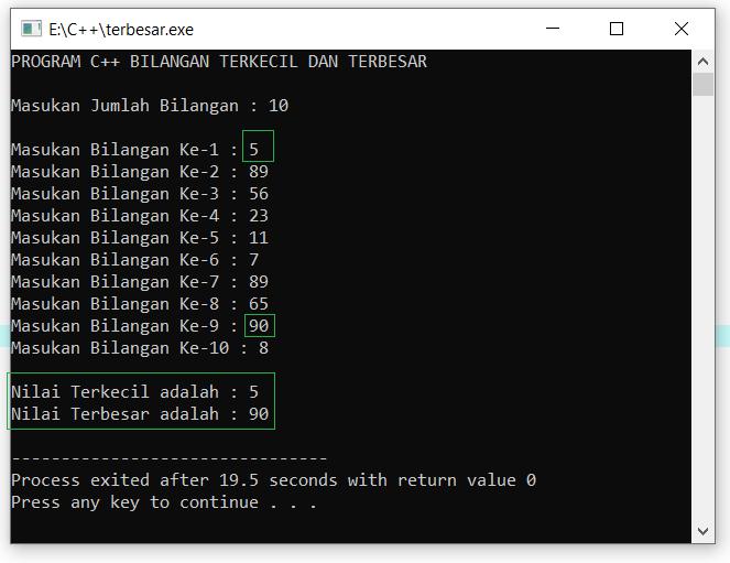 Contoh program C++ ke 2 menggunakan perulangan for