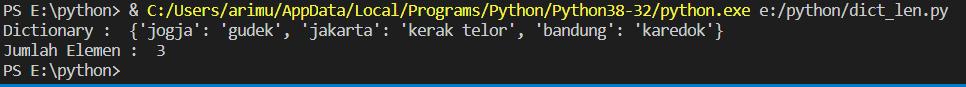 fungsi len() pada dictionary di python