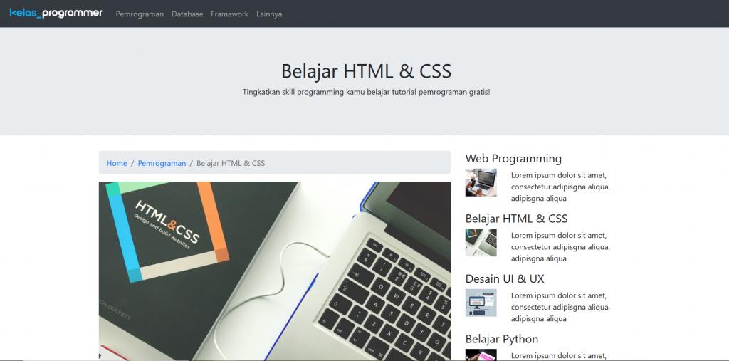 Contoh tampilan web blog dengan bootstrap