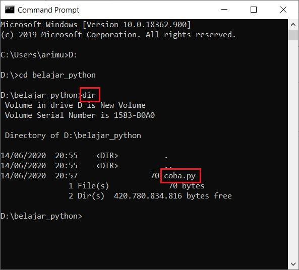 memeriksa file python yang dibuat