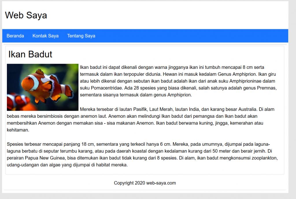 halaman website html dan css