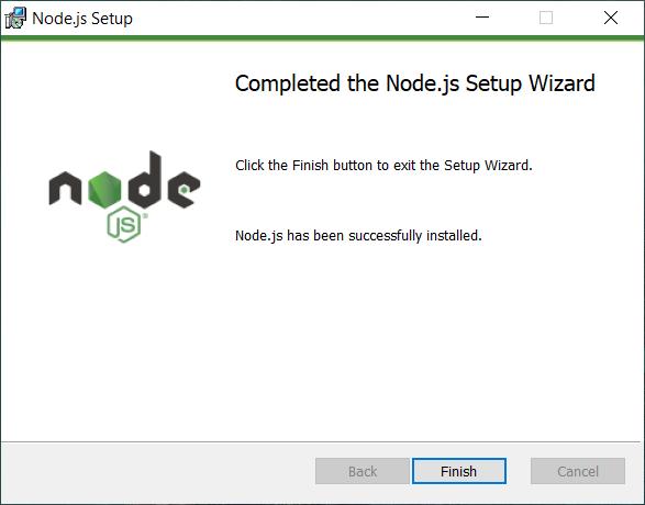 instal node.js berhasil