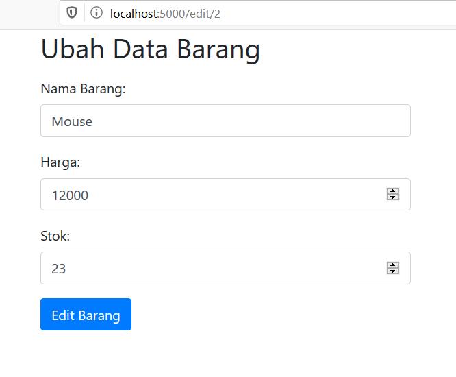 tampilan form edit barang dengan bootstrap
