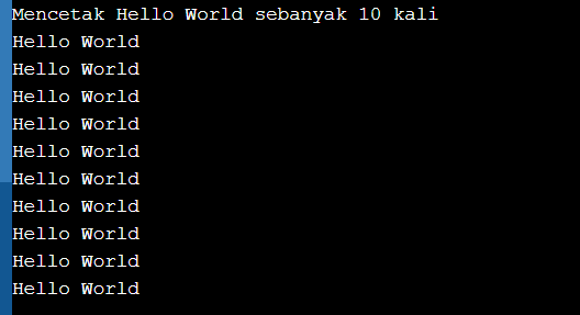 program pascal mencetak hello world