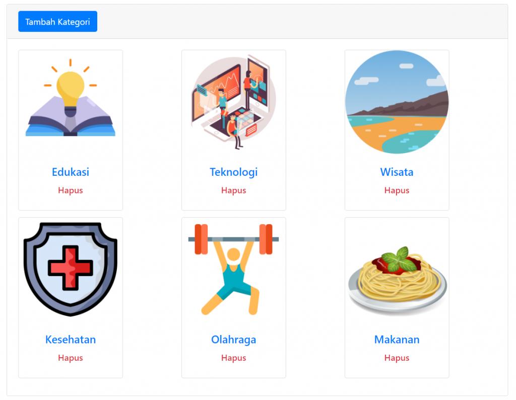kategori di website dinamis