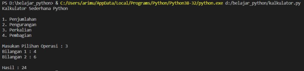 program kalkulator sederhana di python