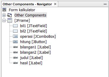 mengatur nama variabel komponen swing java