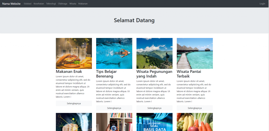 halaman depan website dinamis
