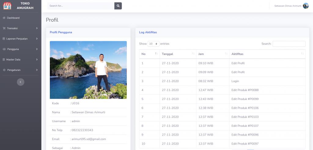 halaman profil pengguna