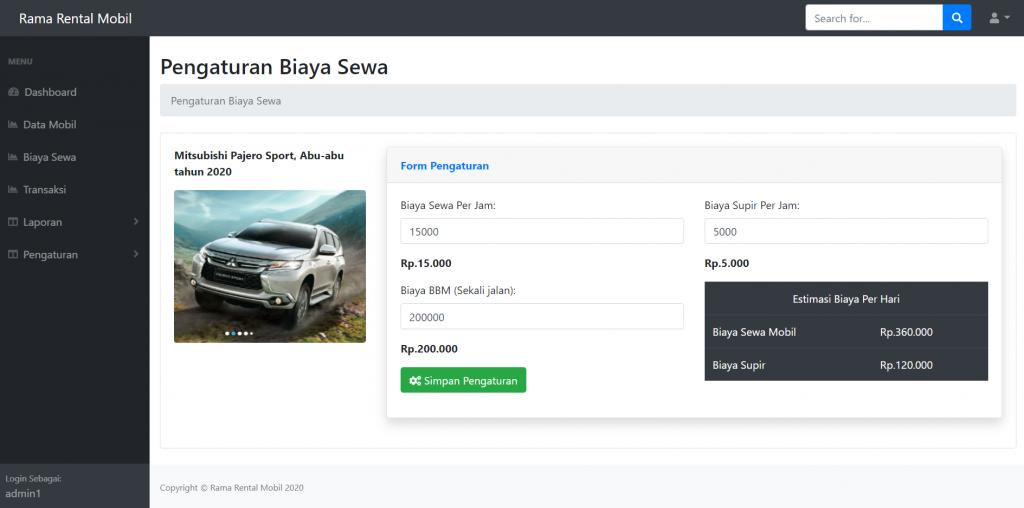pengaturan biaya penyewaan mobil