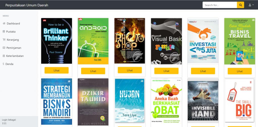 daftar pustaka pada aplikasi perpustakaan